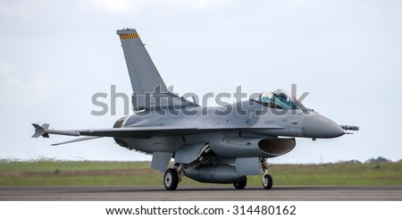 Fighter aircraft taxiing after landing - stock photo
