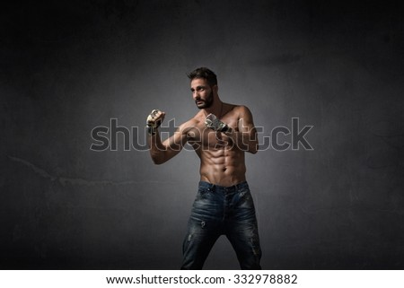 fighter jab hit, dark background