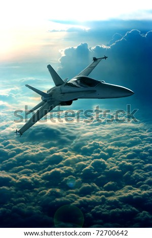Fighter jet above the clouds - stock photo