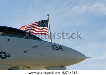 fighter jet with flag - stock photo