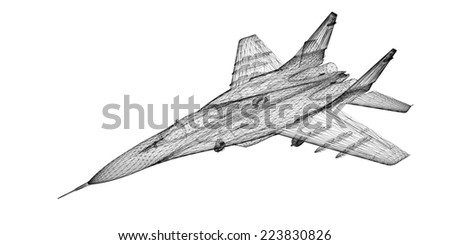 fighter plane model body structure wire model