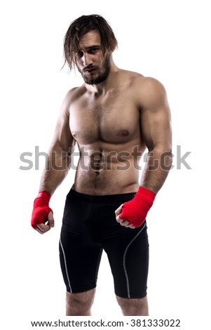 Fighter Poses Isolated On White Background - stock photo