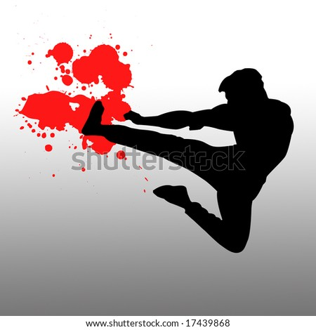 Fighter with blood splat - stock photo