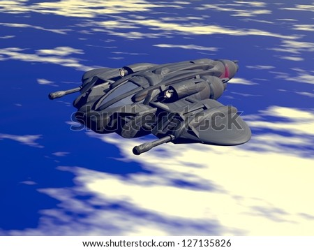 Fighting aircraft and low orbit interceptor flying above clouds. Original creation and modeling by the author.