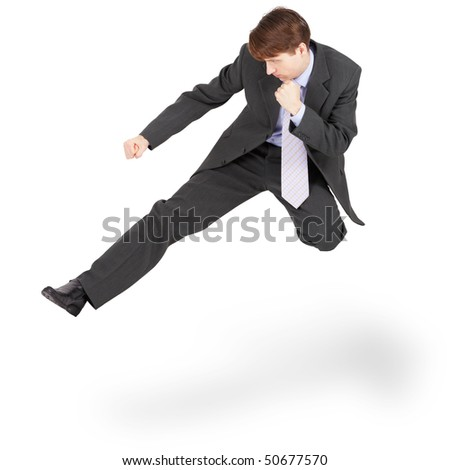 Fighting businessman kicked in the jump, isolated on a white background