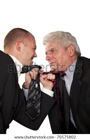 fighting businessmen tearing each other at their ties