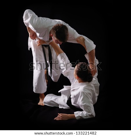 Karateka Stock Photos  Illustrations  and Vector ArtKarate Woman Beats Man