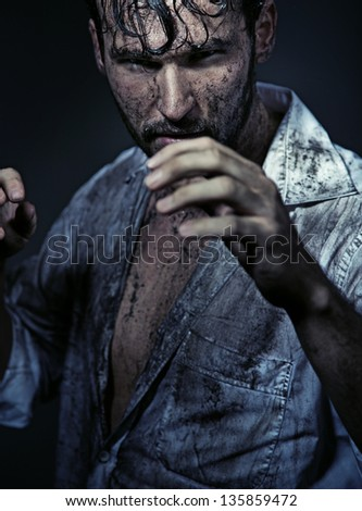 Fighting man - stock photo