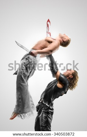 fighting with swords, attack - stock photo
