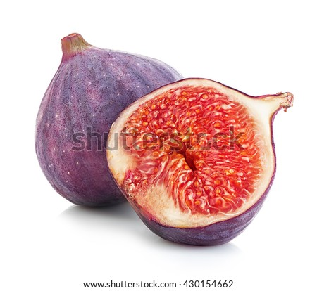 Figs fruits close-up isolated on a white background. - stock photo