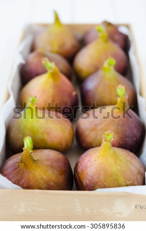 Figs in a tray, selective focus - stock photo