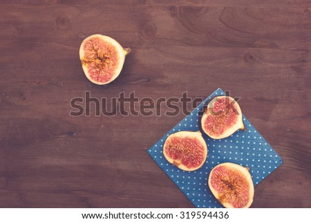 Figs on a Table with Napkin - stock photo