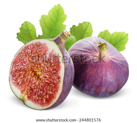 Figs with leaves on a white background - stock photo