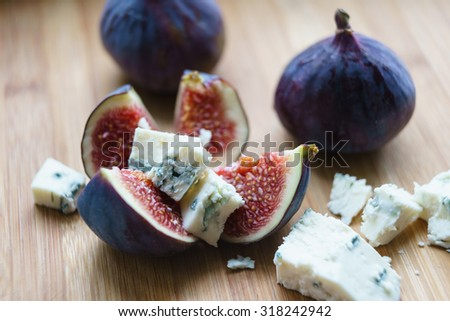 Figs with Roquefort cheese - stock photo