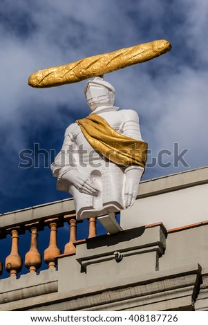 FIGUERAS, SPAIN - NOVEMBER 22, 2013: Outdoor view of details from Dali's Museum building in Figueras. Museum opened on September 28, 1974 and housing the largest collection of works by Salvador Dali. - stock photo