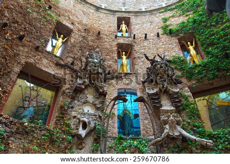 Figueres, Spain - June 17, 2014: Fragment of Main courtyard in Dali's Theatre - Museum building, opened on September 28, 1974 and housing the largest collection of works by Salvador Dali. Spain. - stock photo