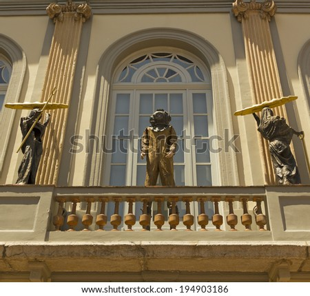 FIGUERES, SPAIN - JUNE 14: Statue of Dali in Figueres, on June 14, 2012. Dali Museum was opened on 1974 and houses largest collection of works by Salvador Dali.