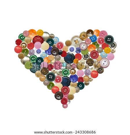Figure hearts of different color and metal buttons - stock photo