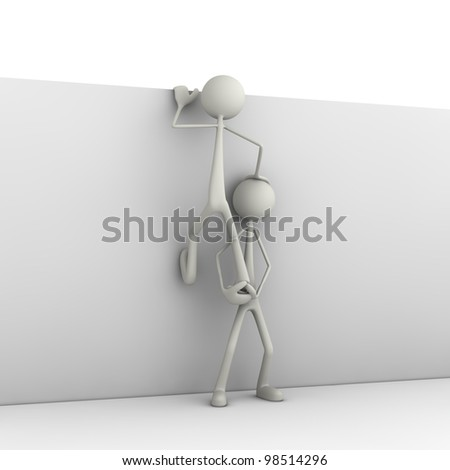 figure helps the otherone by climbing a wall - stock photo
