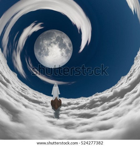 figure in white robe floating to full moon in clouds   3D Render  Some elements provided courtesy of NASA