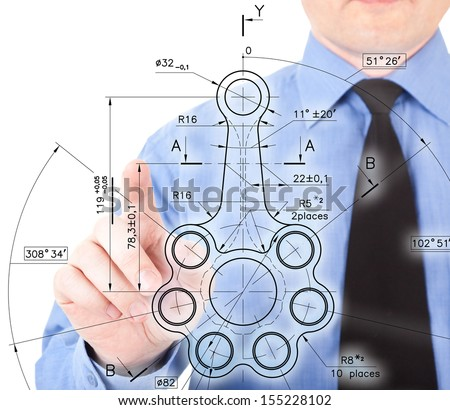 figure of a businessman with gestures on a white background. images collected from multiple photos - stock photo