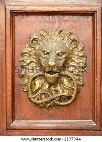 figure of a lion on the wooden door - stock photo