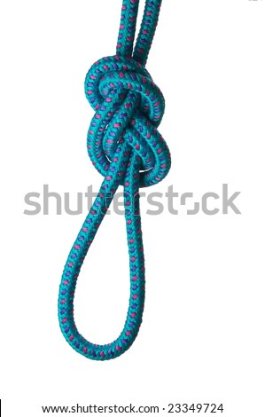 Figure of eight knot on a loop on a blue rope, isolated on a white background - stock photo