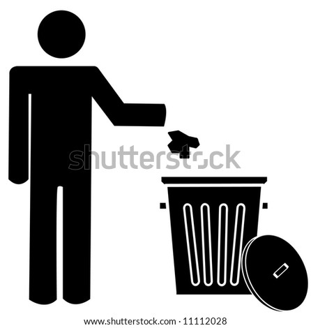 figure of person throwing garbage into a trash can - no littering - stock photo