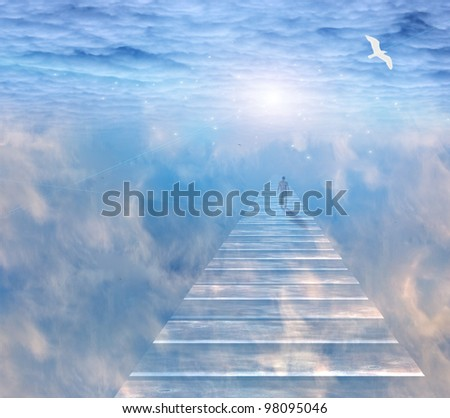 Figure on path  in serene space - stock photo