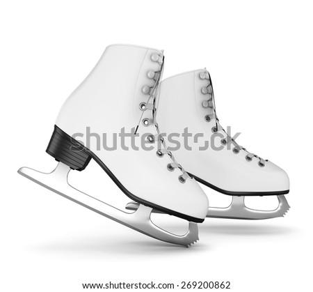 Figure skates isolate on white background. 3d illustration. - stock photo