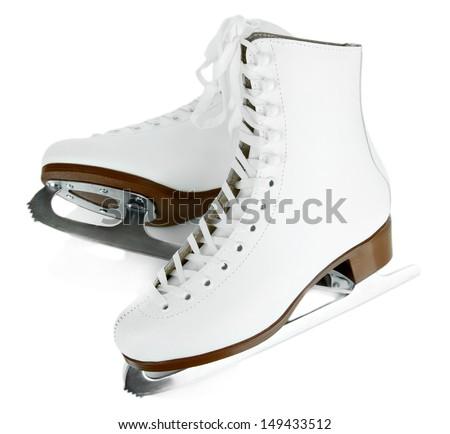 Figure skates isolated on white - stock photo