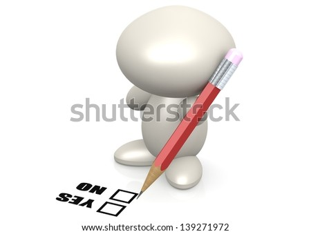 Figure yes and no - stock photo