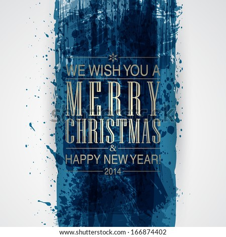 Figured brush strokes brush and ink. Merry Christmas and Happy New Year background. For vector version, see my portfolio.  - stock photo