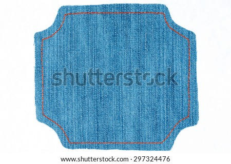 Figured frame of denim  with place for your text,on a white background - stock photo