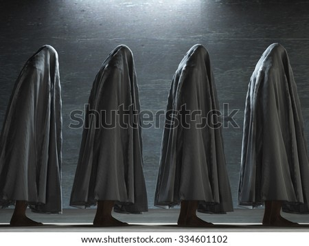 Figures covered in gray - stock photo