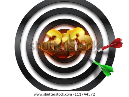figures 2013 in center of dartboard - stock photo