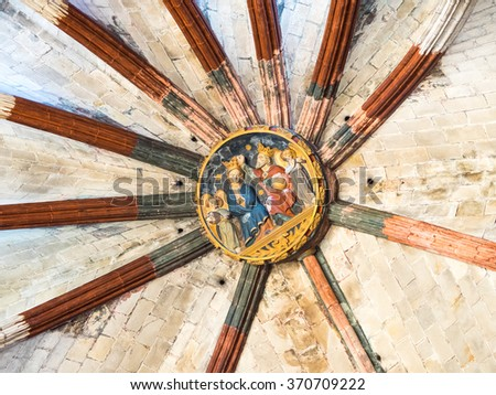 Figures in the ceiling of Santa Maria del Mar gothic church, in Barcelona - stock photo