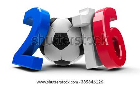Figures 2016 in the colors of french flag with football isolated on white background, represents Euro 2016 - France football championship, three-dimensional rendering - stock photo