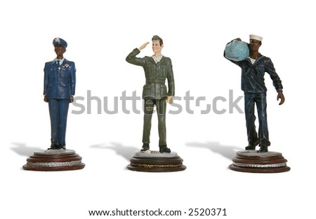 Figures of men from the army, navy and airforce - stock photo