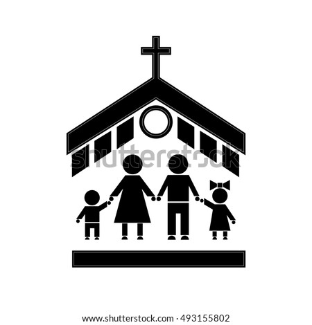 Figures People People Go Church Family Stock Illustration 493155802
