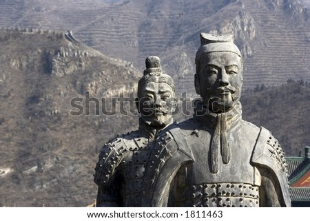 Figures of Soldier and Horses Clay in China. - stock photo