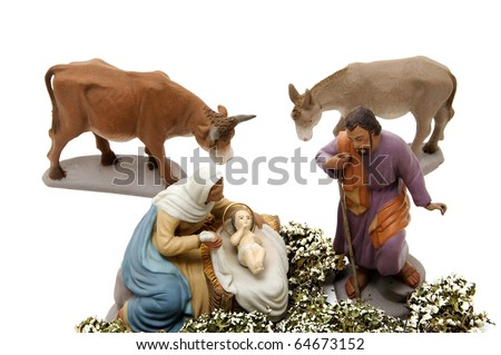 figures representing nativity scene on white background - stock photo