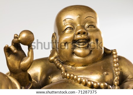 Figurine Cheerful Hotei. Chinese God of Wealth.