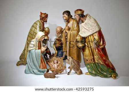 Figurine nativity Christmas scenes. - stock photo