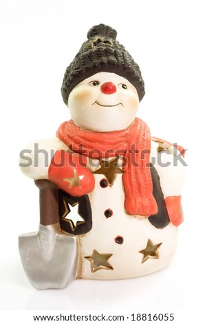 Figurine of a snowman on bright background