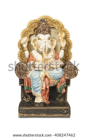 Figurine of Hindu god of wisdom, knowledge and new beginnings Ganesha isolated with clipping path. - stock photo