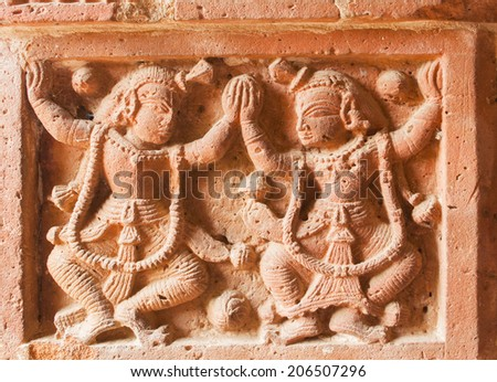 Figurines made of terracotta at Madanmohan Temple, Bishnupur , West Bengal, India . - stock photo