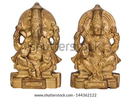 Figurines of Goddess Lakshmi and Lord Ganesha - stock photo