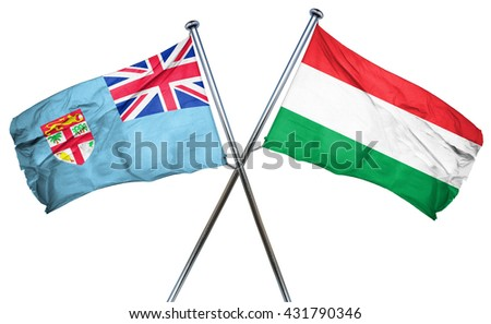 Fiji flag with Hungary flag, 3D rendering