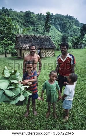 Fiji Islands, Viti Levu Isl.; 22 January 2002, Fijian people in a small village in the countryside - stock photo